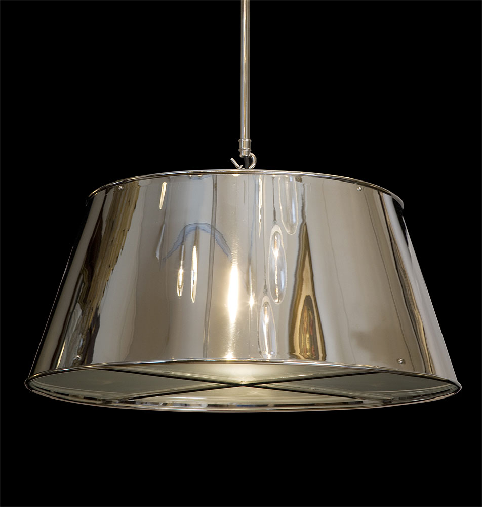 Ceiling light shade with diffuser : Hanging tole shade light with frosted glass diffuser hs