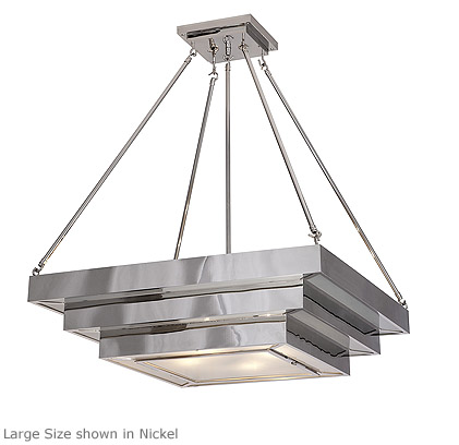 Suspended square stepped deco ceiling light product su 295